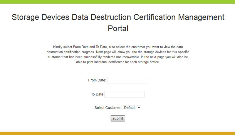 data destruction certificate portal customers