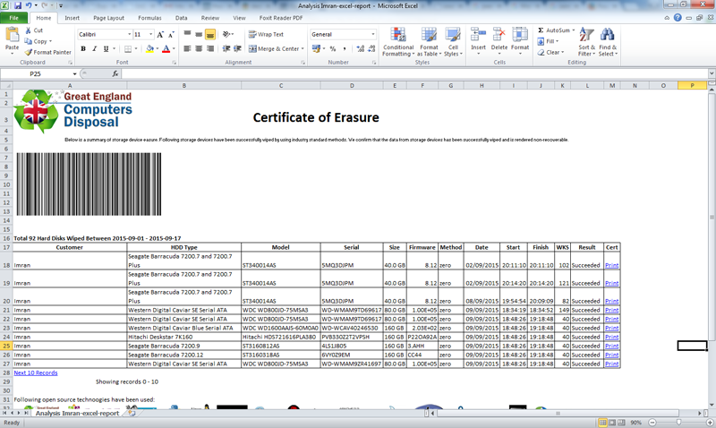HDD data destruction certificates in Excel format