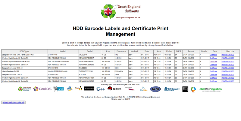 Barcode Labels for HDD data erasing wiping storage data network