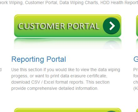HDD data wiping erasing customer portal Network