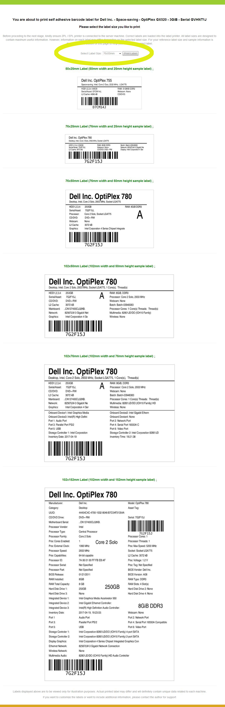 Barcode Labels for Computer PC Hardware Inventory items